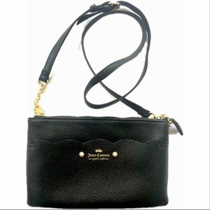 Juicy Couture Ride Wave Black Crossbody Gold Pearl